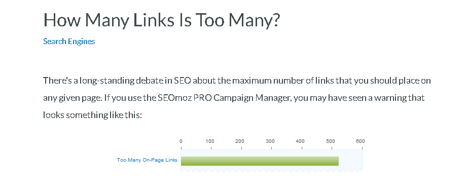 too many links - on-site seo problems