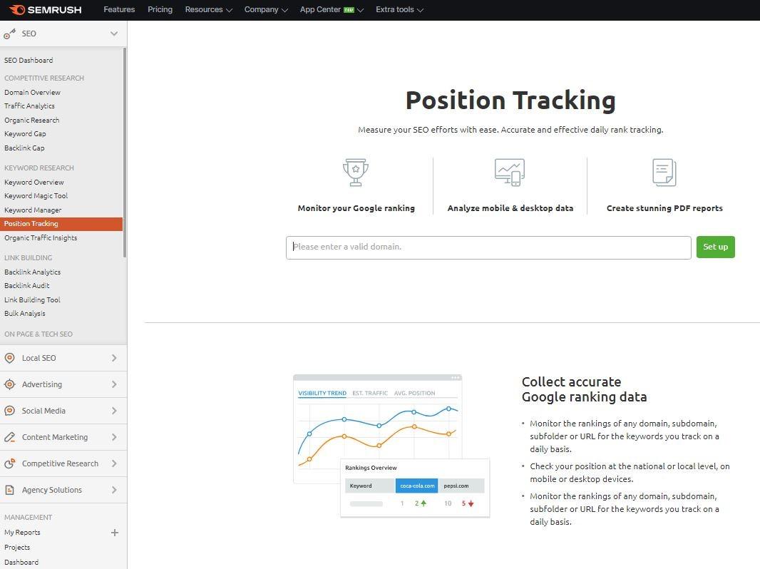keyword position checker by SEMrush