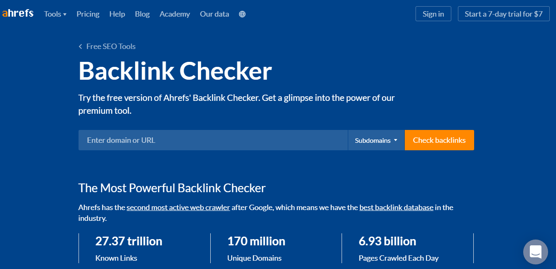 Ahrefs backlinks checker