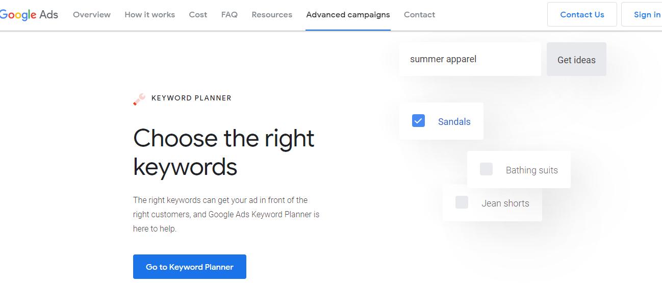 Google Ads - Google Keyword Planner