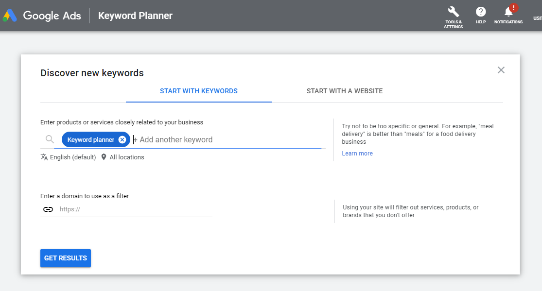 Google Ads Discover new keywords - Google Keyword Planner