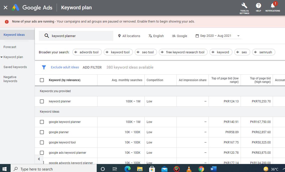 Google Ads list of keywords - Google Keyword Planner